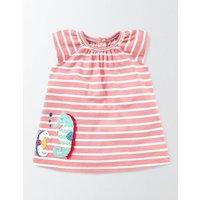 Summer Jersey Appliqué Dress Peach Sorbet/Ivory Stripe Baby Boden, Pink