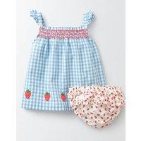 Summer Smocked Dress Light Sky Blue Gingham Baby Boden, Blue