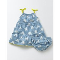 Tiered Summer Jersey Dress Soft Bluebell Love Birds Baby Boden, Blue