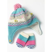 Lambswool Hat & Mittens Set Green Baby Boden, Green