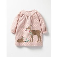 Winter Animals Appliqué Dress Vintage Pink Spot Deer Baby Boden, Pink