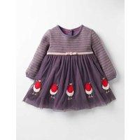 Pretty Tulle Applique Dress Purple Baby Boden, Purple