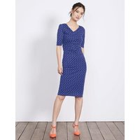 Rita Ruched Jersey Dress Greek Blue Scoop Spot Women Boden, Blue