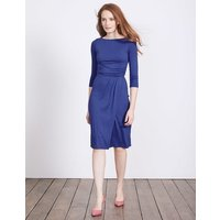 Lottie Ruched Jersey Dress Greek Blue Women Boden, Blue