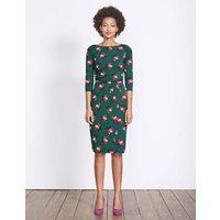 Lottie Ruched Jersey Dress Deep Forest Small Bloom Women Boden, Green