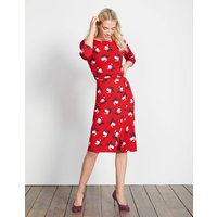 Lottie Ruched Jersey Dress Post Box Red Small Bloom Women Boden, Red