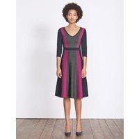 Darcey Knitted Dress Charcoal Melange/Fallen Fruit Women Boden, Grey