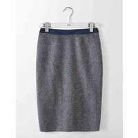 British Tweed Pencil Skirt Navy and Ivory Herringbone Women Boden, Navy