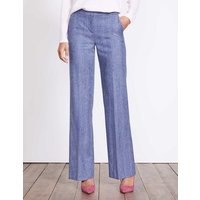British Tweed Wideleg Trousers Blue Women Boden, Blue