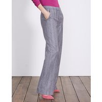 British Tweed Wideleg Trousers Navy Women Boden, Navy