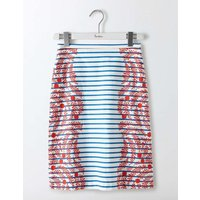 Printed Cotton A-Line Skirt Red/Blue Stripe Floral Women Boden, Red
