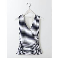 Crossover Ruched Top Navy/Ivory Stripe Women Boden, Navy