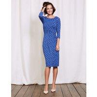 Lottie Ruched Jersey Dress Santorini Blue Pansy Floral Women Boden, Blue