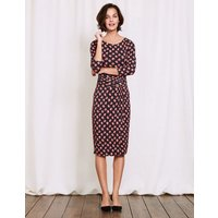 Lottie Ruched Jersey Dress Raven Pansy Floral Women Boden, Grey