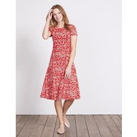 Portia Jersey Dress Post Box Red Blossom Spot Women Boden, Red