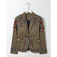 Florence Embroidered Blazer Khaki Women Boden, Khaki