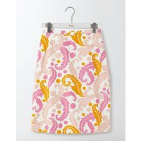 Printed Cotton A-Line Skirt Pink Acanthus Leaf Women Boden, Pink