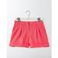 Lottie Linen Shorts Pink Women Boden, Coral