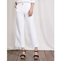 Rachel Wide Crop Chino Trouser White Women Boden, White