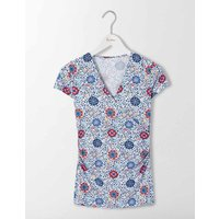 Short Sleeve Wrap Top Multi Mosaic Floral Vine Women Boden, Multi