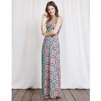 Twist Front Jersey Maxi Dress Capri Blue Woodblock Print Women Boden, Blue