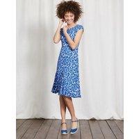 Avril Jersey Dress Meadow Spring Shadow Floral Women Boden, Blue
