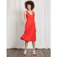 Vanda Broderie Dress Snapdragon Women Boden, Red