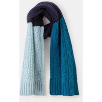 Cable Knit Scarf Navy/Washed Blue Women Boden, Navy