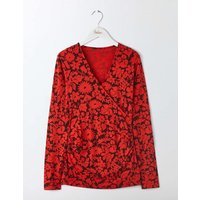 Long Sleeve Wrap Top Red Women Boden, Navy