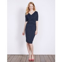 Rita Ruched Jersey Dress Carbon Blue Chainmail Women Boden, Blue