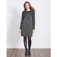 Flocked Spot Sweatshirt Dress Charcoal Spot Women Boden, Grey