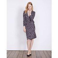 Wrap Jersey Dress Pewter Shadow Floral Women Boden, Grey