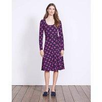 Silvia Jersey Dress Elderberry Port Laurel Leaf Women Boden, Purple