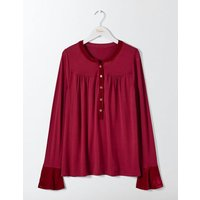 Nadine Velvet Trimmed Top Purple Women Boden, Purple
