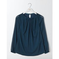 Eve Flocked Top Blue Women Boden, Blue