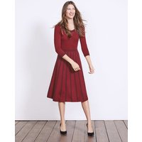 Brooke Floral Dress Wine/Navy Placement Jacquard Women Boden, Red
