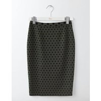 Freya Pencil Skirt Khaki W/Navy Flocked Spot Women Boden, Green