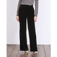 Velvet Wide Leg Trousers Black Women Boden, Black