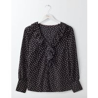 Pascale Silk Blouse Black Polka Dot Small Women Boden, Black