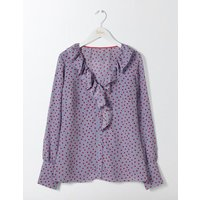 Pascale Silk Blouse River, Polka Dot Small Women Boden, Blue