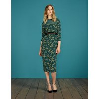Hettie Fitted Dress Deep Forest Acacia Small Women Boden, Green