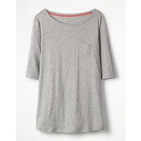 The Cotton Boat Neck Tee Grey Women Boden, Grey