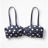 Amalfi Bandeau Bikini Top Navy/Ivory Spot Women Boden, Navy/Ivory Spot