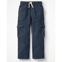 Brushed Tartan Cargo Pants Navy Boys Boden, Navy