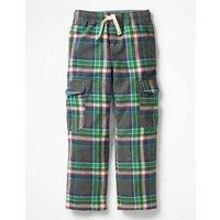Brushed Tartan Cargo Pants Grey Boys Boden, Grey