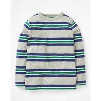 Stripy Slub T-shirt Grey Boys Boden, Grey