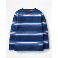 Stripy Slub T-shirt Navy Boys Boden, Navy