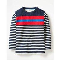 Stripy T-shirt Blue Boys Boden, Navy