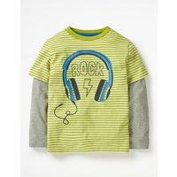 Stripy Music T-shirt Green Boys Boden, Green