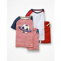 Twin Pack Short Pyjamas Red Boys Boden, Red